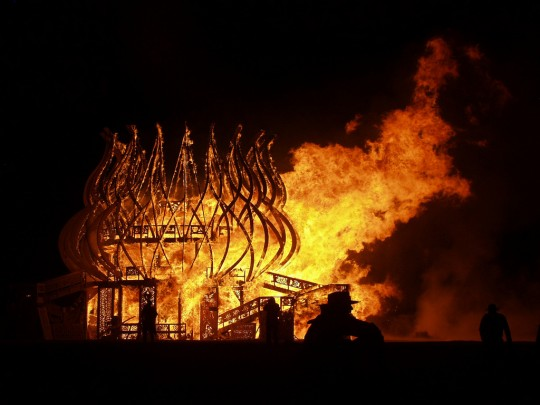 Burning Man Temple on Fire in Black Rock City