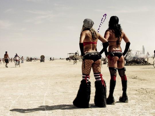 Rave Girls at Burning Man in Black Rock Desert